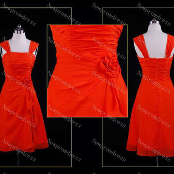 Custom Dress straps red chiffon with Flower Mini cocktail dress evening dress for 2014 prom dress