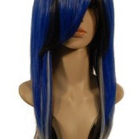 NEW fashion HOT sexy Long mixed Blue Gray Straight Anime cosplay wigs party Masquerade girls 50CM