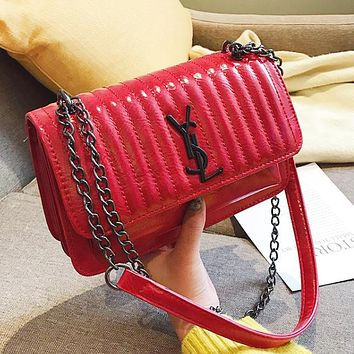 YSL Fashion New Letter Leather Chain Shoulder Bag Women Red