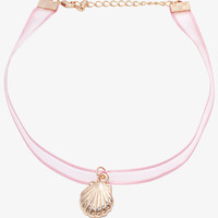 Pink Shell Ribbon Choker
