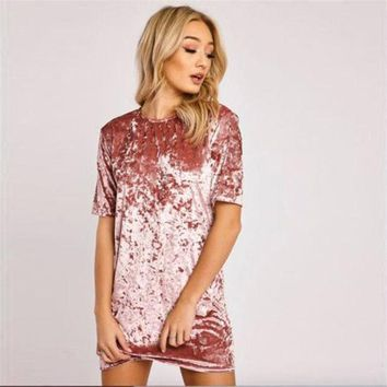 DCCKHQ6 Spring Summer Dresses 3XL 2017 Fashion Plus Size Women Clothing Casual Short Sleeve O-Neck Mini Pink Black Velvet Dress Vestidos