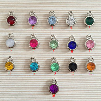 12pcs/lot mixed Birthstone charms 11mm Acrylic for Diy Personalized Necklace and Bracelet Free shipping