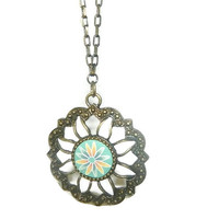 Sundial Necklace, Long Chain, Two Tone Chain