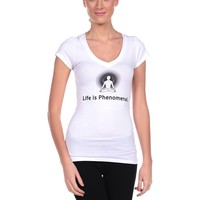 Positive Thought Brand Life Is Phenomenal V-Neck Tee - White