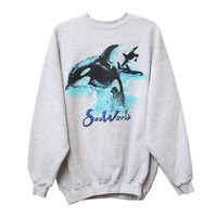 Vintage 90s Retro Sea World Orca Whale Shamu Crewneck Sweatshirt | Adult Size XL Extra Large | Killer Whales Ocean Theme Shirt