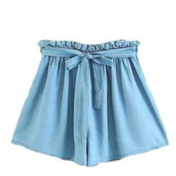 'Macy' Tied Chambray Paper Bag Shorts
