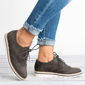 Lace Up Perforated Oxfords - Charcoal