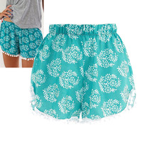 Summer Women Floral Elastic Waist Cotton Shorts Short Pants Casual