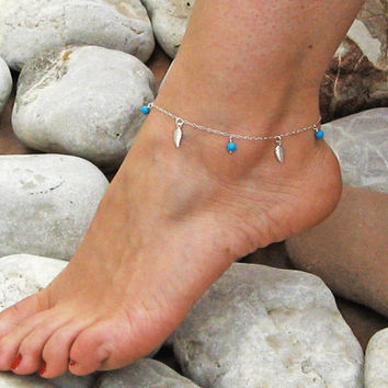Dainty Leaf Anklet, Turquoise Ankle Bracelet, Sterling Silver, Delicate Anklet, Beach Foot Jewelry, Dangle  Leaves Anklet, Gift Under 25