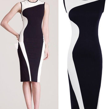 Color Block Sleeveless Midi Pencil Dress