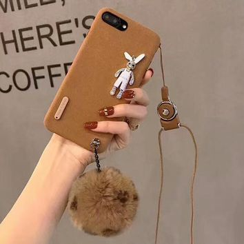 Squishy iphone Fur Ball Rhinestone Bunny case with strap for iPhone 6  for iPhone X 8 plus