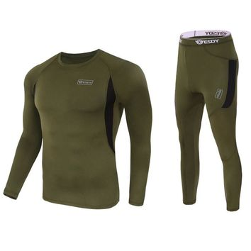 Tactical outdoor Fleece T-shirts and Pants Hunting Clothing Suit Army Sport Hunting Clothes breathable Tactical running sets