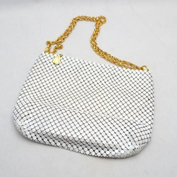 Vintage Whiting and Davis Purse, White Mesh with Gold Tone Link Strap, Heart Zipper Pull, 1980s