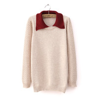 Winter Simple Elegant Collar Patterned Sweater 3 Colors