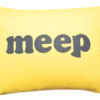 MEEP Pillow Talk Word Art Typography On Yellow by PillowThrowDecor