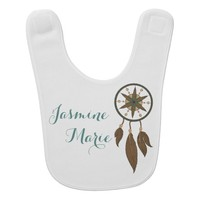 Native American Dream Catcher Feathers Custom Name Baby Bib