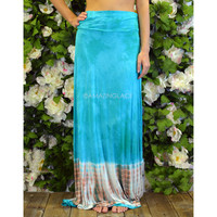 Just Beachin' Mint & Coral Tie Dye Maxi Skirt