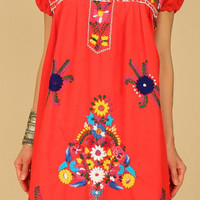 ViNtAgE 70's Artisan Made Hand EMBROIDERED Red Floral Mexican MiNi Cotton Dress L