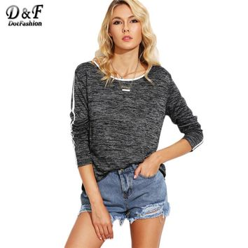 Grey Knit Contrast Binding Tops Women Round Neck Long Sleeve Tees Autumn Casual T-shirt