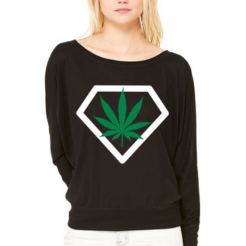 diamant weed WOMEN'S FLOWY LONG SLEEVE OFF SHOULDER TEE