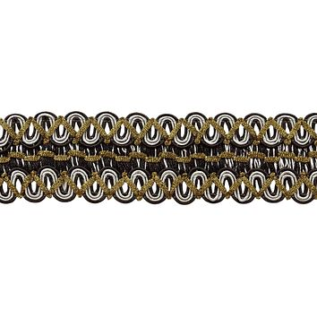 6 Yard Value Pack of Vintage 2 Inch (5cm) Wide Gimp Braid Trim - Black, Silver Grey, SGB (18 Ft / 6.5M)