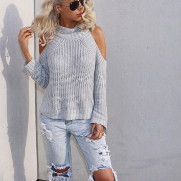 Fashion strapless high-necked knit sweater
