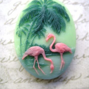 Art deco retro  pink flamingos cab or cameo large 30 x 40mm (1)