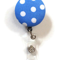 Fabric Covered Retractable Badge Reel Blue Polka Dots Keychain Lanyard
