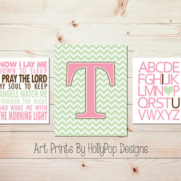 Baby girl nursery decor Pink Green wall art Alphabet I love you print Chevron girl decor Now I lay me down Children's bedtime prayer #1428