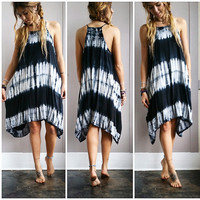 An Asymmetrical Tie Dye Dress