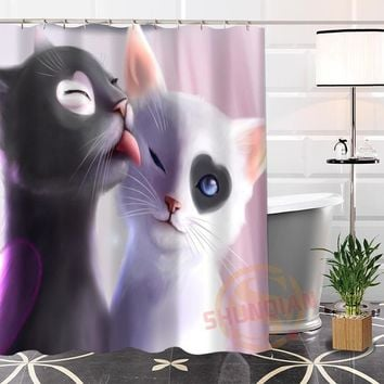 Eco-friendly Custom Unique Cute Cat Modern Shower Curtain - Waterproof