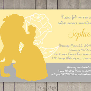 Bridal shower invitation Beauty and the Beast - Digital file