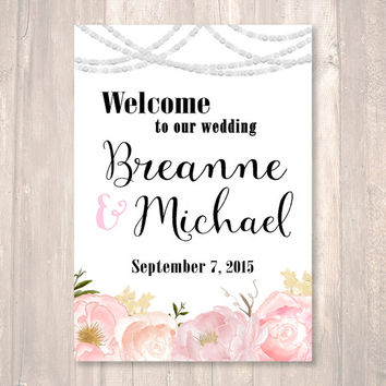 Vintage Wedding Welcome Sign, Floral, String of Lights, Large Sign- PRINTABLE Sign