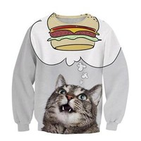 autumn new arrival burger cat sweatshirt jumper Women Men Hoodies greedy cat 3D print hoodies pullover harajuku casual outerwear
