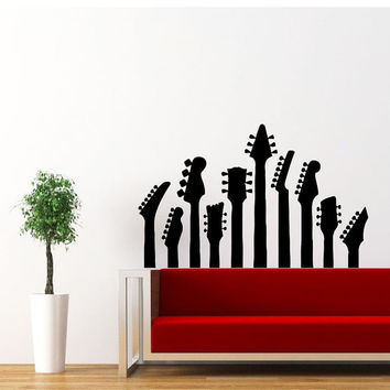 Guitar Wall Decal Electro Jazz Musical Instrument Decals Vinyl Sticker Interior Home Decor Art Decor Bedroom Recording Music Studio SV5897