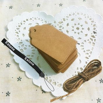 100pcs Blank Brown Kraft Paper Marked Blank Card Hand Draw Tags Labeled Card(Size: 50mm x 30mm)