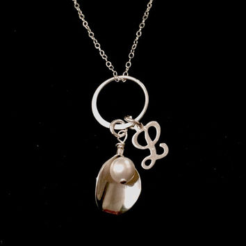 Beautiful Sterling Silver Calla Lily Necklace with Pearl and Initial Script Charm. Perfect for Bridesmaids!