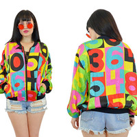 vintage 90s VIVID bomber jacket satin slouchy colorblock new wave hip hop coat neon numbers 1990s windbreaker novelty small