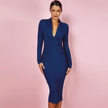 Long Sleeve Winter V Neck Bandage Bodycon Dress Party-SALE!