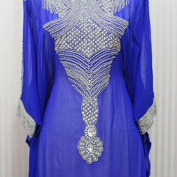 Blue Caftan Kaftan Swarovski Dress Dubai Gold Embroidery Petite Sheer Chiffon Wedding Maxi Dress