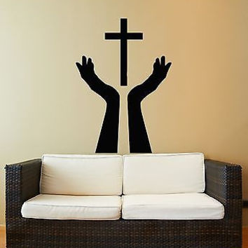 Wall Stickers Vinyl Decal Religion Religious Symbol Holy Cross Praying  (z1840)