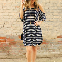 Cold Shoulder Stripe Casual Dress 12025