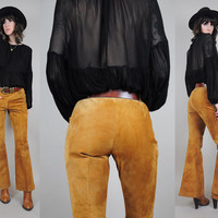 vtg 70's SUEDE Bell Bottom Flared pants Boho FLARED trousers Cognac camel tan hippie