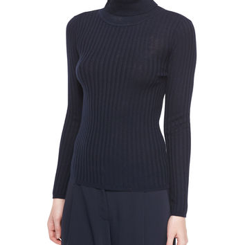 Silk-Cashmere Ribbed Turtleneck, Size: