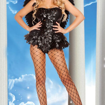 Black Leather Bodysuit Angel Costume