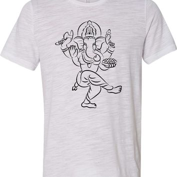 Yoga T-shirt Sketch Ganesha Black Print Burnout Tee