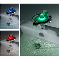 Sumerain Single Handle Deck Mount LED Waterfall Bathroom Sink Faucet - S1305CM