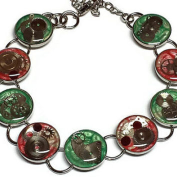 Red and Green Christmas Steampunk Chain Bracelet, Christmas Bracelet