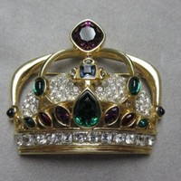 Rare Stunning Signed Swan Swarovski Gold Plated Jeweled Crown Brooch Pin