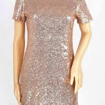 Golden Plain Sequin Round Neck Short Sleeve Evening Party Club Mini Dress